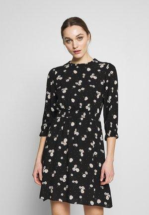 BLACK DAISY HIGH NECK SHIRRED WAIST - Korte jurk - black