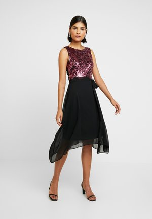 SEQUIN BODICE FIT AND FLARE MIDI - Cocktailkjole - oxblood