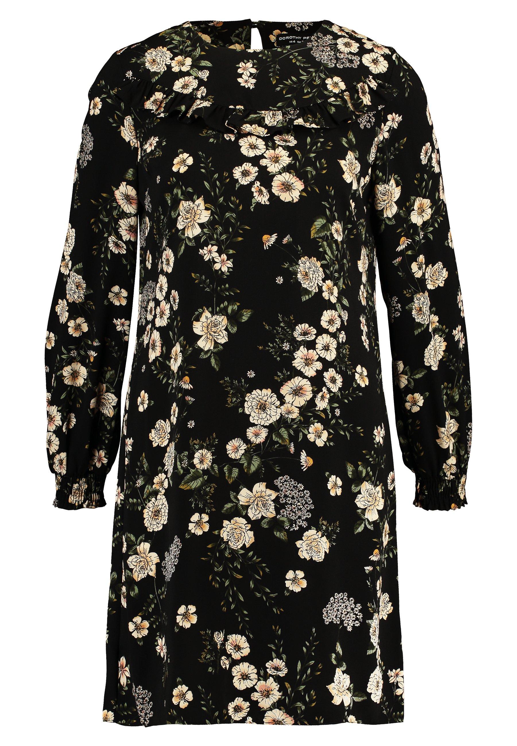 Dorothy Perkins TIA FLORAL RUFFLE LONG SLEEVE DRESS - Sukienka letnia - green