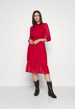PLAIN PUSSYBOW FRILL DRESS - Day dress - red