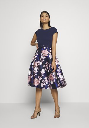 LUXE SOLID BODICE BELTED MIDI DRESS - Juhlamekko - blue