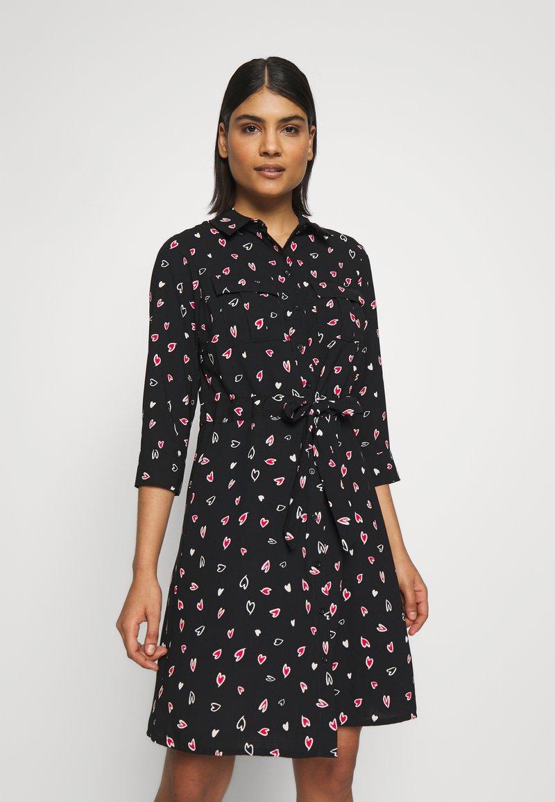 Dorothy Perkins - HEART CHANNEL WAIST SHIRT DRESS - Shirt dress - black