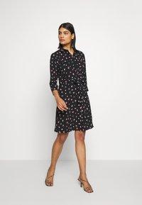 Dorothy Perkins - HEART CHANNEL WAIST SHIRT DRESS - Shirt dress - black - 1