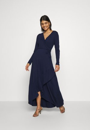 LONG SLEEVE WRAP DRESS - Maxi šaty - navy