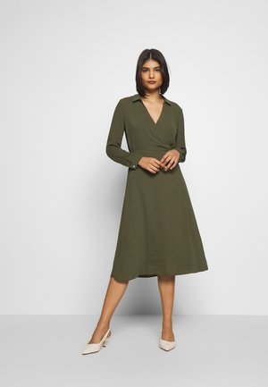 COLLARED WRAP SHIRT MIDI DRESS - Day dress - khaki