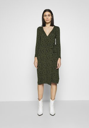 SPOT WRAP MIDI - Jersey dress - black