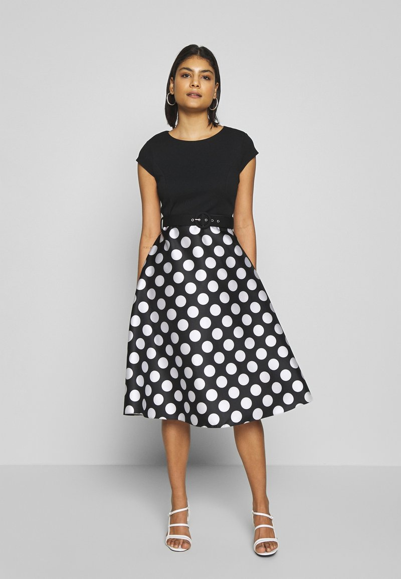 Dorothy Perkins - LUXE MONO SPOT SOLID BODICE BELTED - Shift dress - black
