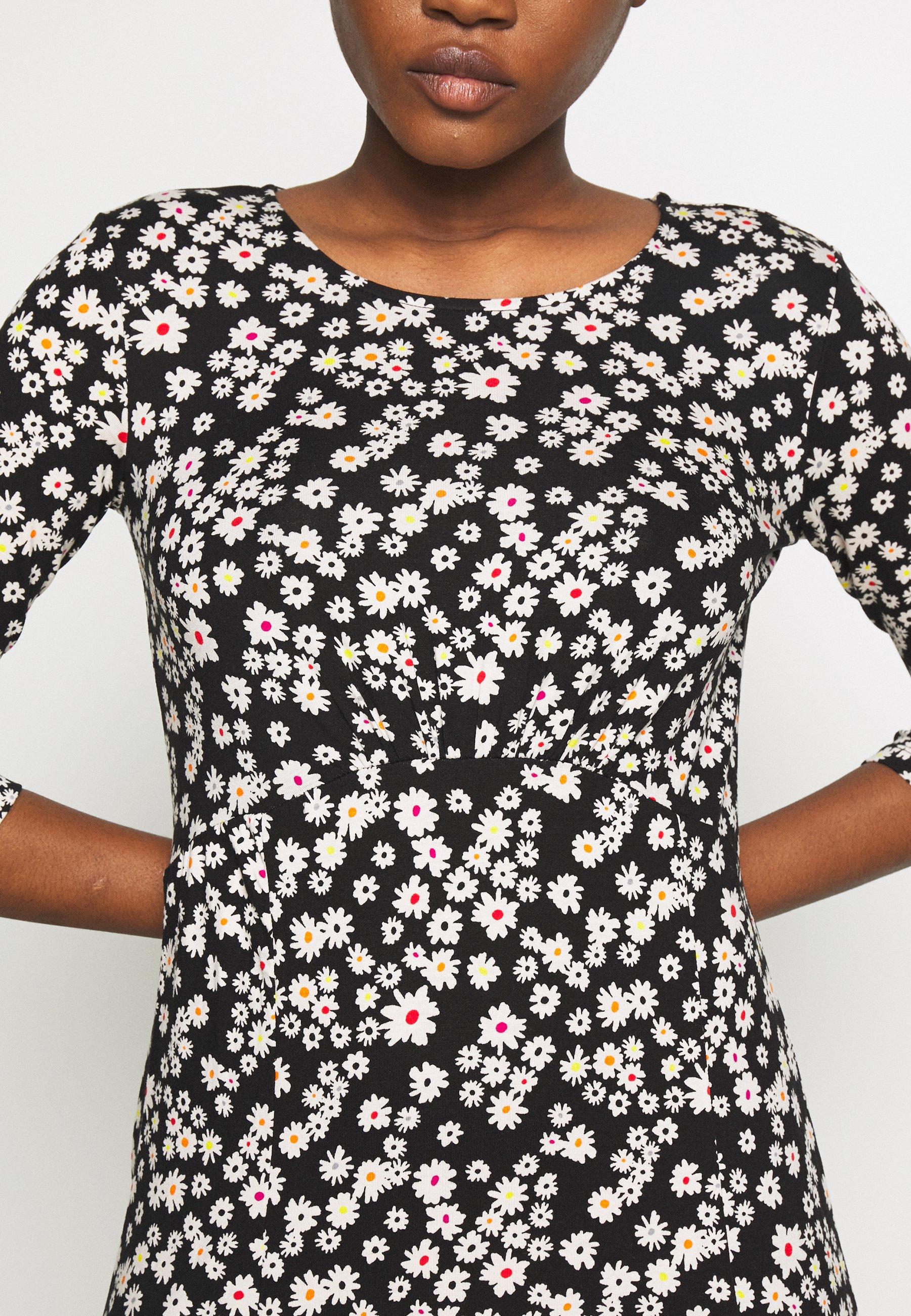 Dorothy Perkins DAIST PRINT EMPIRE FIT FLARE - Sukienka z dżerseju - black