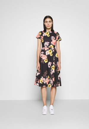 FLORAL MIDI DRESS - Jerseykjole - black