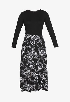 FLORAL PRINT MIDI DRESS - Jerseykjole - black