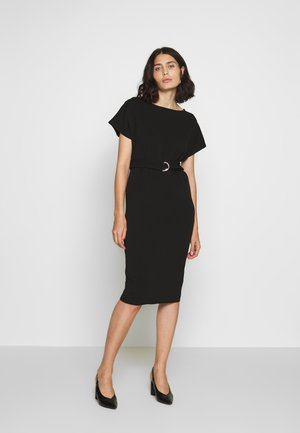 D RING MIDI DRESS - Jersey dress - black