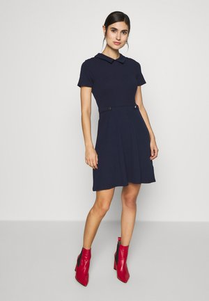 PLAIN COLLARED POCKET DETAIL - Jersey dress - navy
