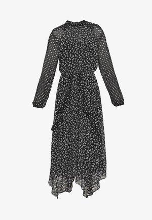 SPOT AND FLORAL LONG SLEEVE WRAP MIDI DRESS - Denní šaty - black