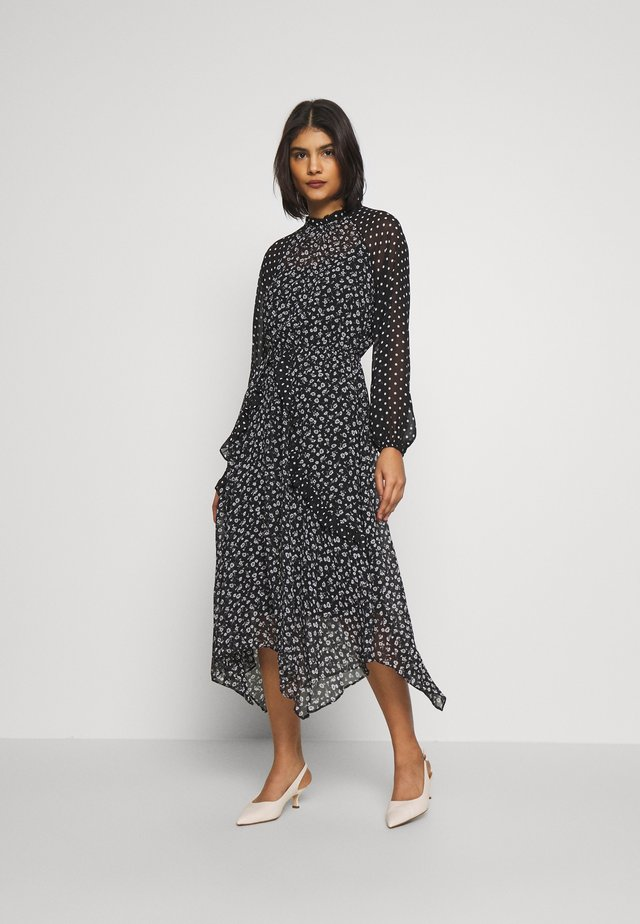 SPOT AND FLORAL LONG SLEEVE WRAP MIDI DRESS - Day dress - black