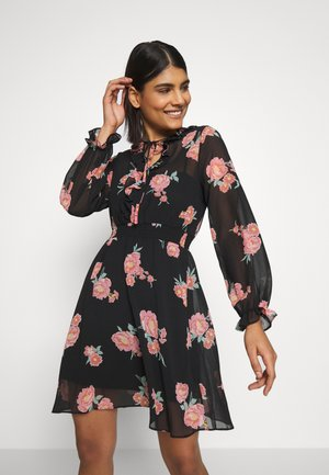 FLORAL RUFFLE LONG SLEEVE - Robe d'été - black