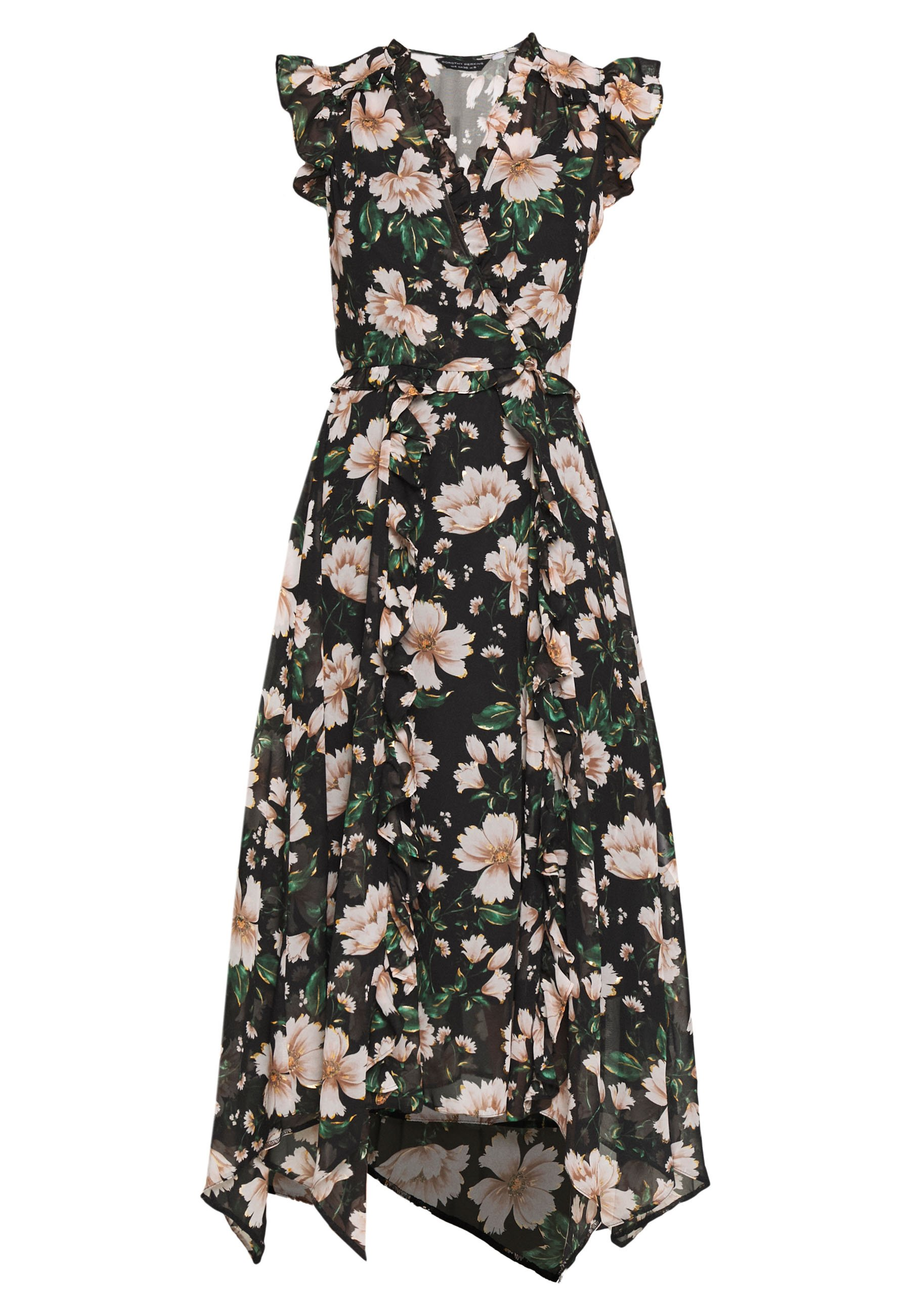 Dorothy Perkins FLORAL RUFFLE SHORT SLEEVE MIDI DRESS - Sukienka letnia - green