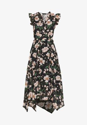 FLORAL RUFFLE SHORT SLEEVE MIDI DRESS - Denní šaty - green