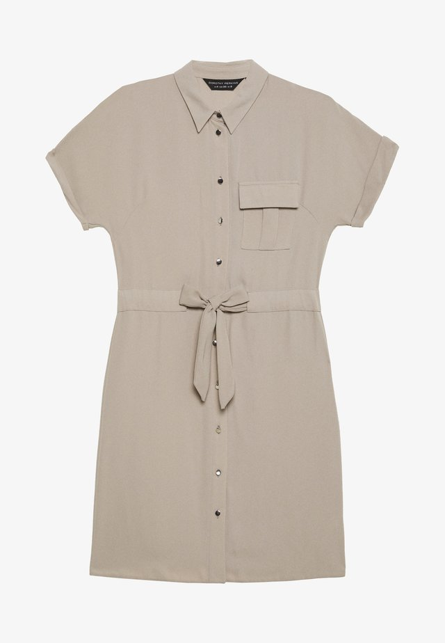 UTILITY DRAWCORD STONE SHIRT DRESS - Shirt dress - stone