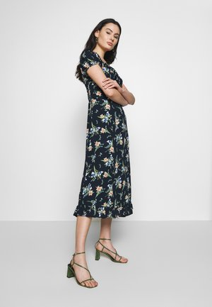 FLORAL MILKMAID MIDI DRESS - Kjole - navy