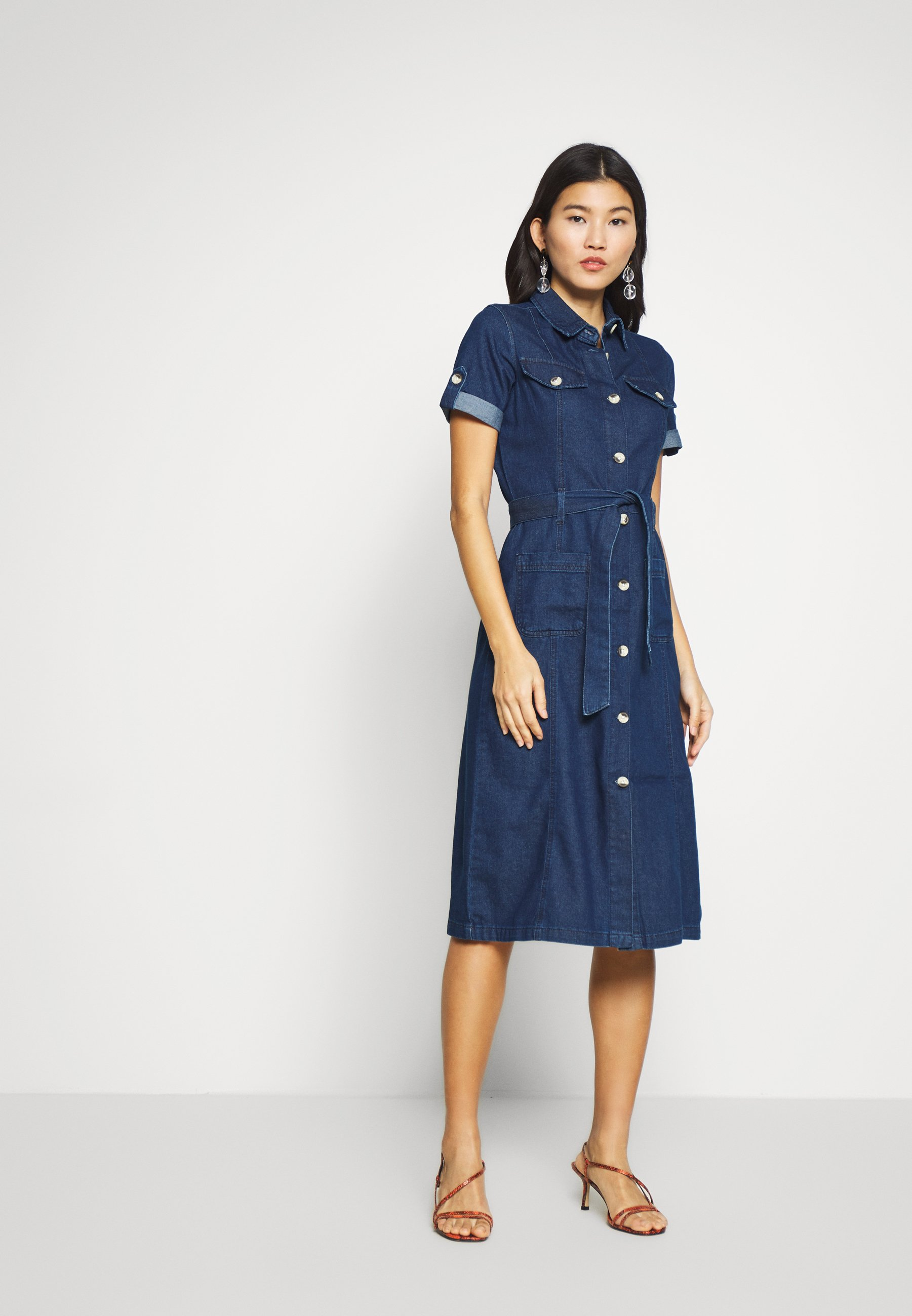 Dorothy Perkins SHORT SLEEVE DRESS - Sukienka jeansowa - indigo