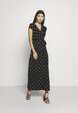 GEO PRINT WRAP DRESS - Maxi-jurk - black