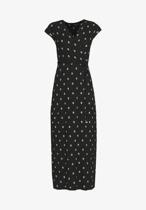 GEO PRINT WRAP DRESS - Maxi dress - black