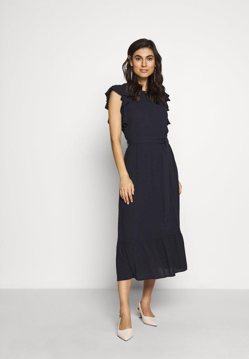 Dorothy Perkins - CRINKLE RUFFLE SLEEVE DRESS - Denní šaty - navy