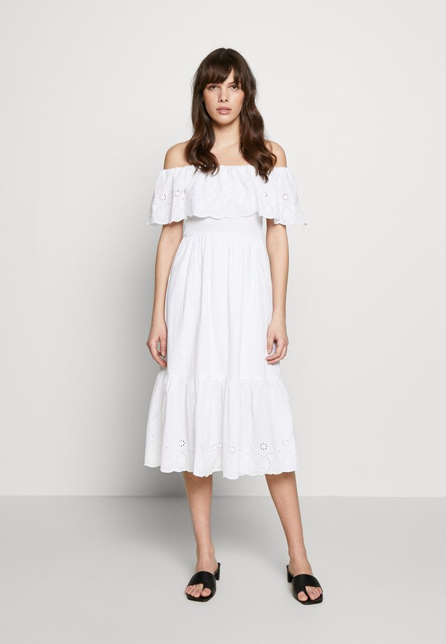 BRODERIE TIERED FRILL DRESS - Day dress - white