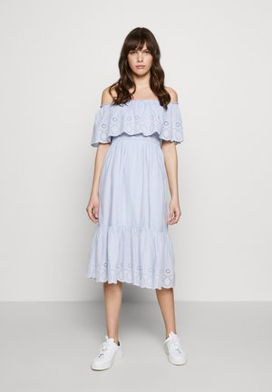 BRODERIE TIERED FRILL DRESS - Vestito estivo - blue