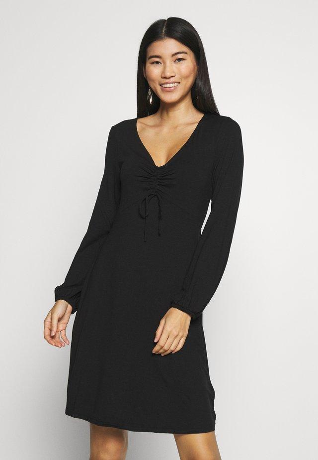 FIT AND FLARE DRESS - Jerseykjoler - black