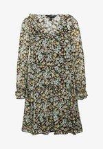 FLORAL SMOCK SHIFT DRESS - Denní šaty - black