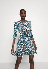 Dorothy Perkins - HEART RUCHED WAIST FIT AND FLARE - Korte jurk - blue - 0