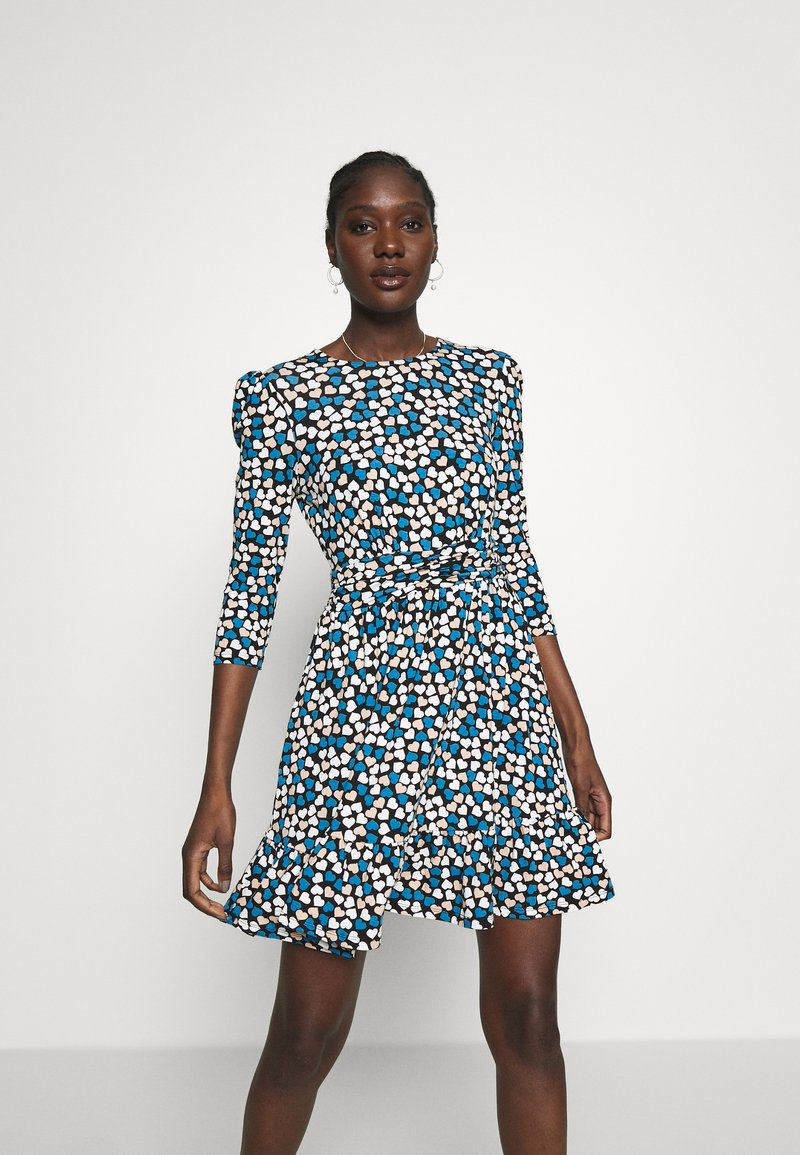 Dorothy Perkins - HEART RUCHED WAIST FIT AND FLARE - Korte jurk - blue