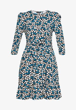 HEART RUCHED WAIST FIT AND FLARE - Kjole - blue