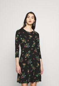 Dorothy Perkins - CREW NECK FIT AND FLARE BIRD FLORAL - Kotelomekko - black - 0