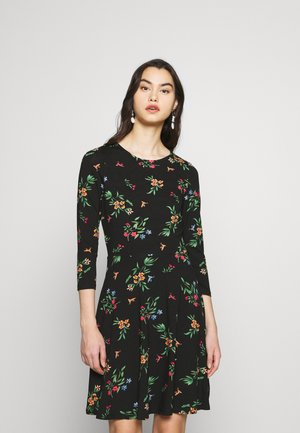 CREW NECK FIT AND FLARE BIRD FLORAL - Pouzdrové šaty - black