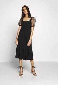 Dorothy Perkins - ORGANZA SLEEVE TIERED MIDAXI DRESS - Day dress - black - 1