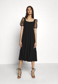 Dorothy Perkins - ORGANZA SLEEVE TIERED MIDAXI DRESS - Day dress - black - 0