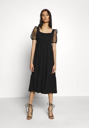 ORGANZA SLEEVE TIERED MIDAXI DRESS - Vestito estivo - black