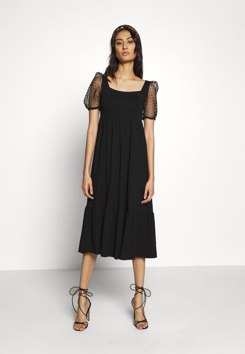 Dorothy Perkins - ORGANZA SLEEVE TIERED MIDAXI DRESS - Day dress - black