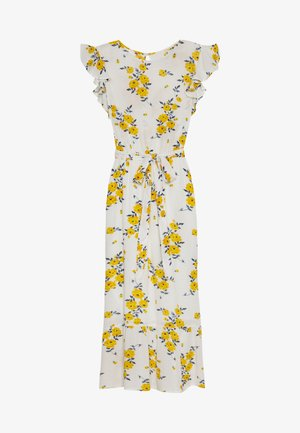 FLORAL CRINKLE RUFFLE SLEEVE DRESS - Maxi dress - ivory