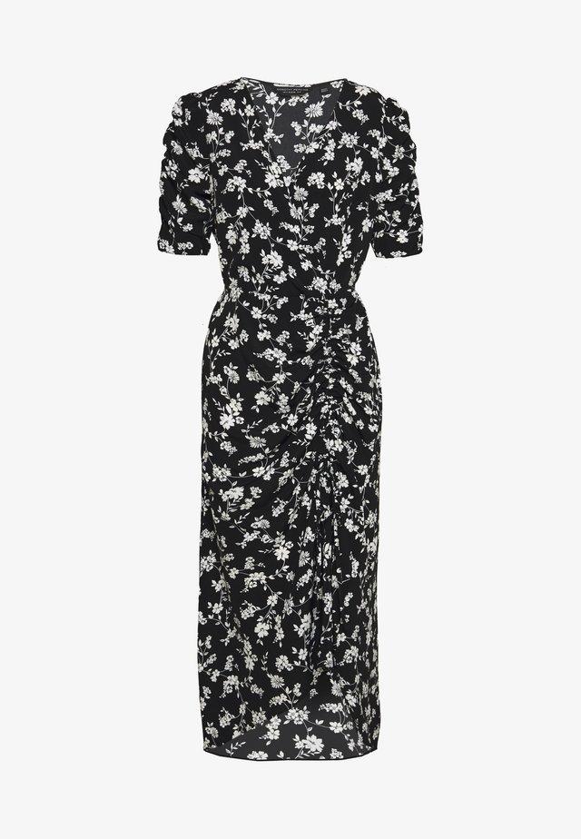FLORAL RUCHED SIDE MIDI DRESS - Korte jurk - black