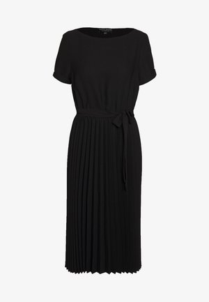 SLEEVE KEYHOLE PLEATED MIDI DRESS - Korte jurk - black