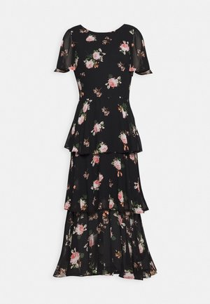 FLORAL SLEEVED TIERED MIDI DRESS - Sukienka letnia - black