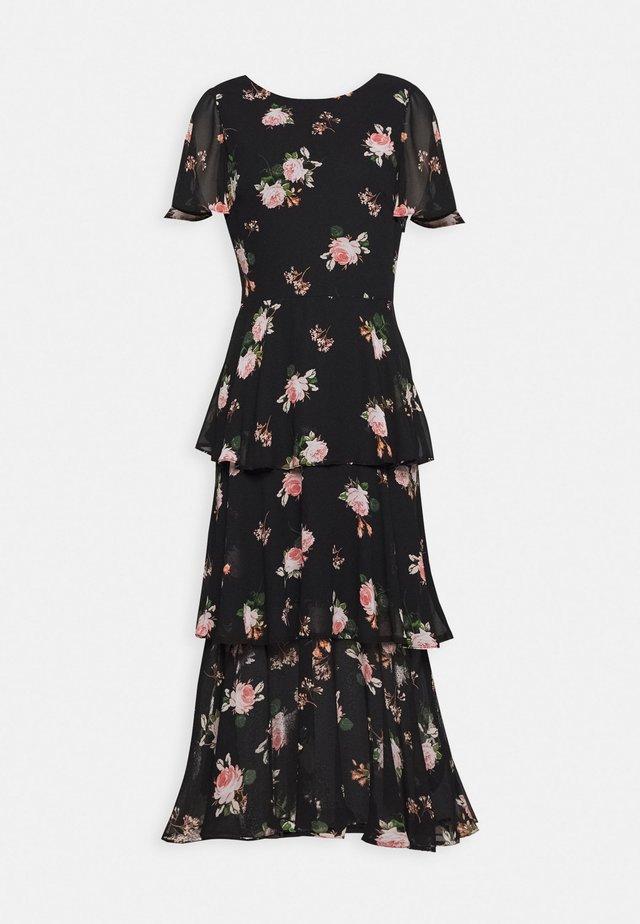FLORAL SLEEVED TIERED MIDI DRESS - Korte jurk - black