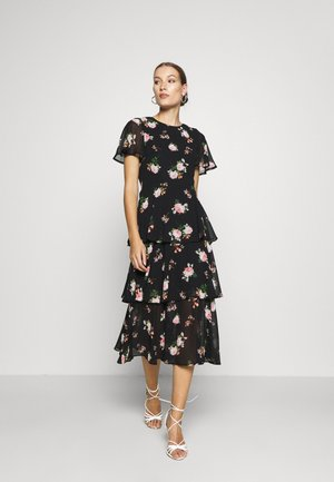FLORAL SLEEVED TIERED MIDI DRESS - Denní šaty - black