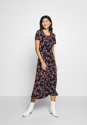 FLORAL PRINT MIDI DRESS - Žerzejové šaty - black