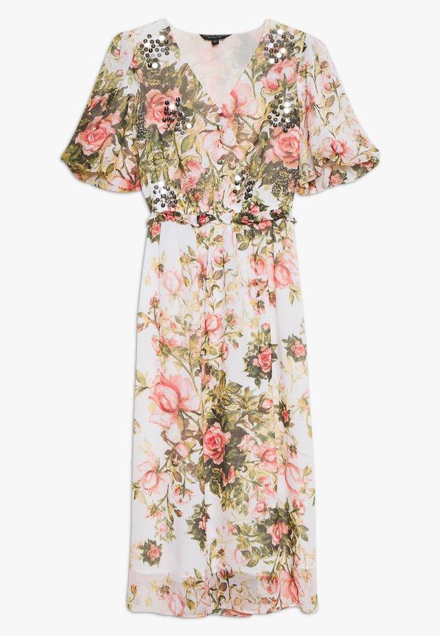 FLORAL PRINT SEQUIN MIDAXI DRESS - Korte jurk - blush
