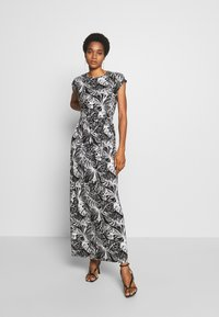 Dorothy Perkins - PALM PRINTROLL SLEEVE DRESS - Robe longue - black - 0