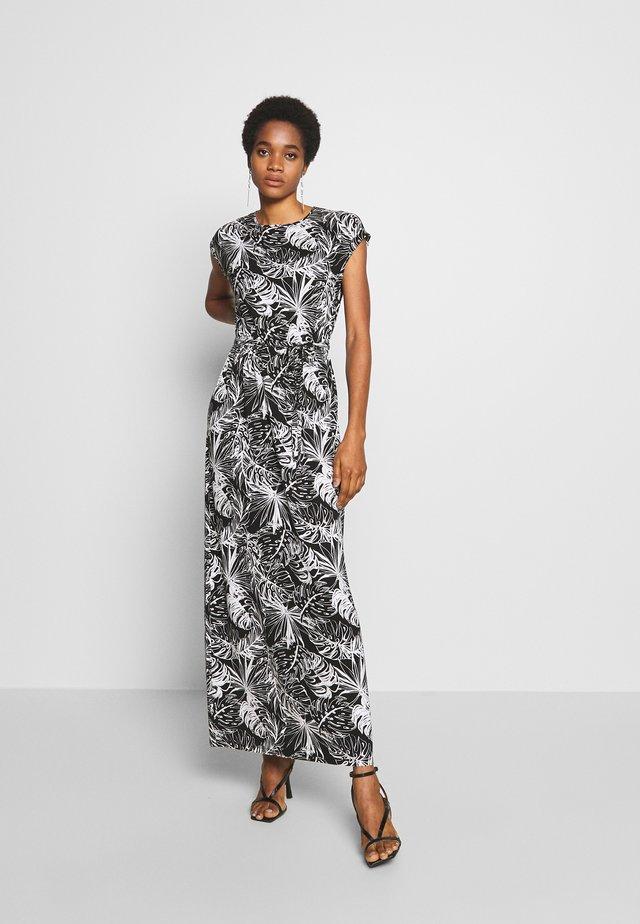 PALM PRINTROLL SLEEVE DRESS - Maxi-jurk - black